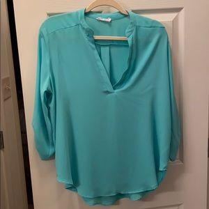 Lush aqua 3/4 sleeve blouse size L
